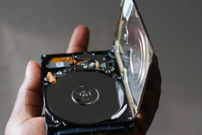 open hard drive showing platter