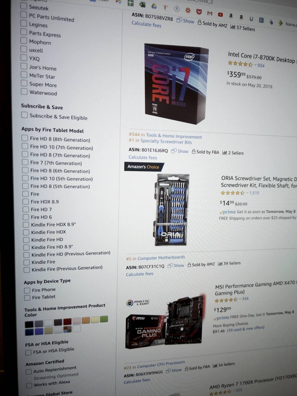 ordering pc parts amazon